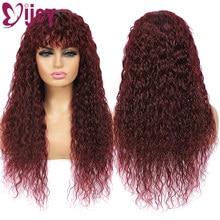 Parrucche per capelli umani IJOY Water Wave con frangia 99J RedWine parrucche brasiliane per capelli umani per donne nere parrucche per capelli umani Non Remy 150%