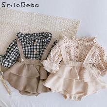 Vintage Baby Mädchen Insgesamt Shirt Set Kleidung Herbst Leinen Mädchen Floral Blouss, Strampler, kleid Neugeborenen Baby Mädchen Strap Outfits