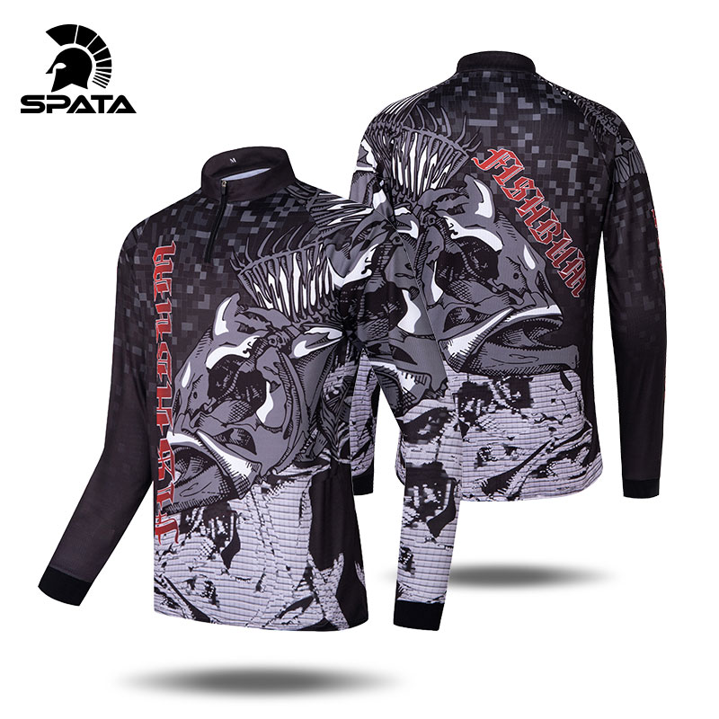 SPATA Fishing T-shirt Men Long Sleeve Sun Protection ANTI-UV  Personalize Jersey For Fishing Quick Dry Breathable Fishing Shirts