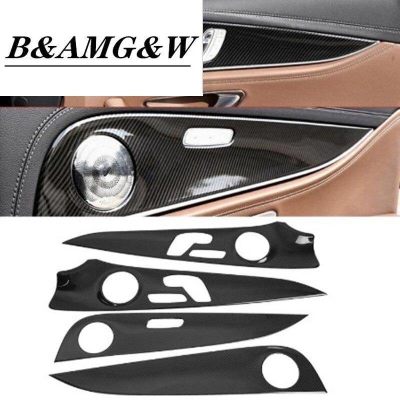 1Set Car Interior Door Panel Cover Trim for Mercedes Benz E Class W213 2016 2017 2018 Carbon Fiber Car Accessories New