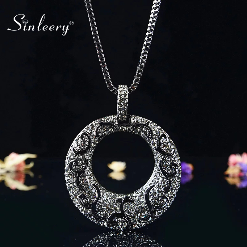 SINLEERY Vintage Big Hollow Pattern Round Pendant Necklace Black Color Long Chain For Women Statement Necklace Jewelry MY097 SSI(China)