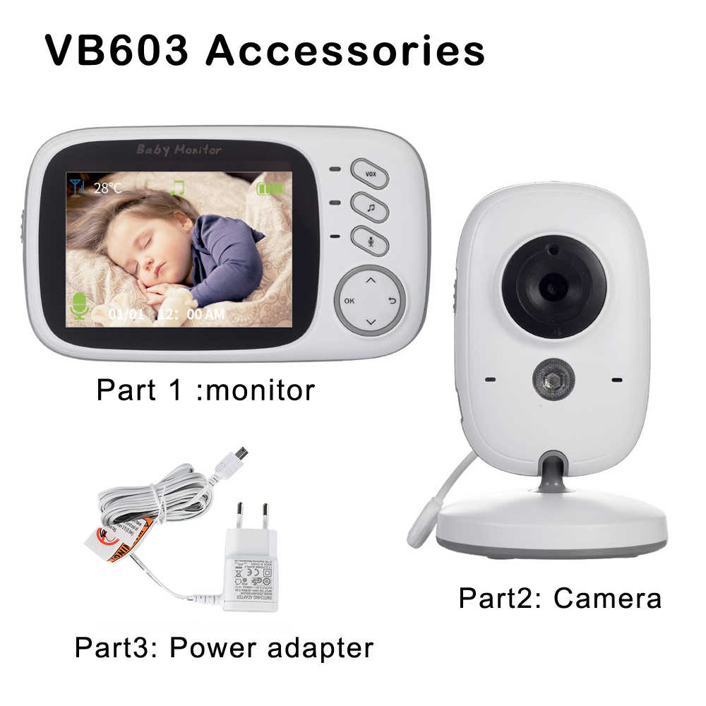 Accessoires: 3.2 Inch Draadloze Video Kleur Baby Monitor , Power Adapter, baby Nanny Beveiliging Camera Stand Voor VB603 ,VB605 H