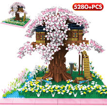 Mini City Creator Cherry Tree Friends House Model Building Blocks Street View MOC Bricks Educational Toys For Children Gifts