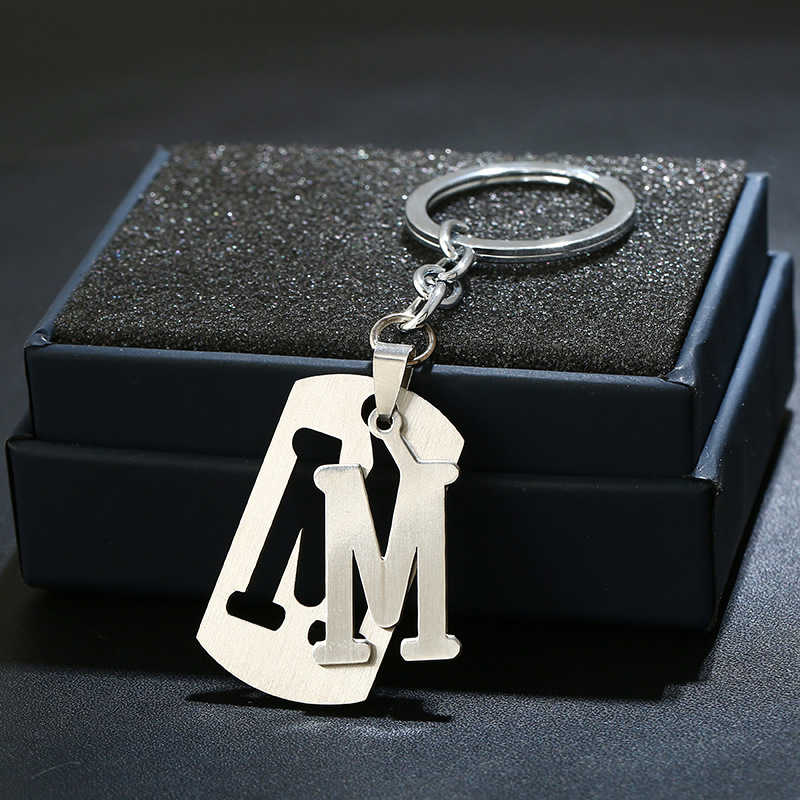 Nouveau bricolage A-Z lettres porte-clés pour hommes porte-clés en métal femmes voiture porte-clés Simple lettre nom porte-clés fête cadeau bijoux