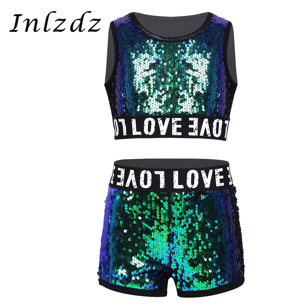 Kids Girls Hip-hop Jazz Gymnastics Performance Costumes Jazz Dancing Clothes Shiny Sequins Sleeveless Crop Top With Shorts Set