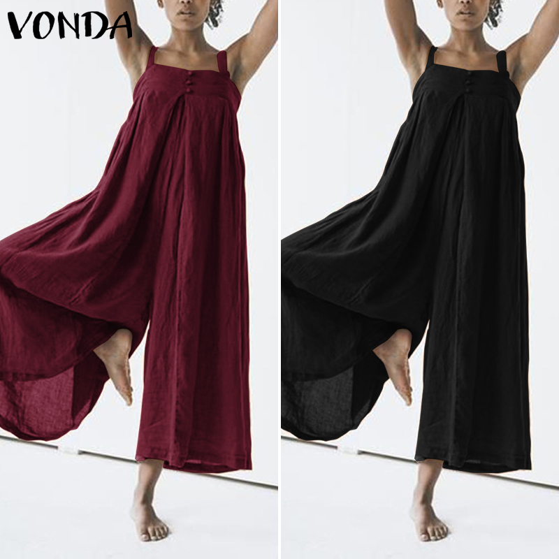 VONDA Women Wide Leg Pants Cotton   Jumpsuit   Backless Rompers 2019 Summer Casual Loose Playsuits Plus Size Overalls Pantalon Femme