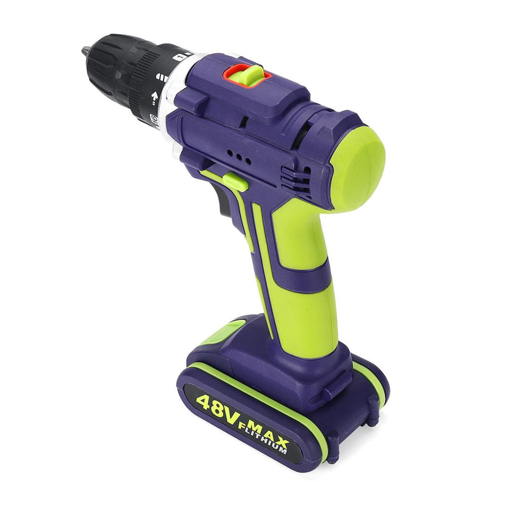 Tools : ALLSOME 3 In 1 Hammer Drill 48VF Cordless Drill Double Speed Power Drills LED lighting 50Nm 25 1 Torque Electric Drill
