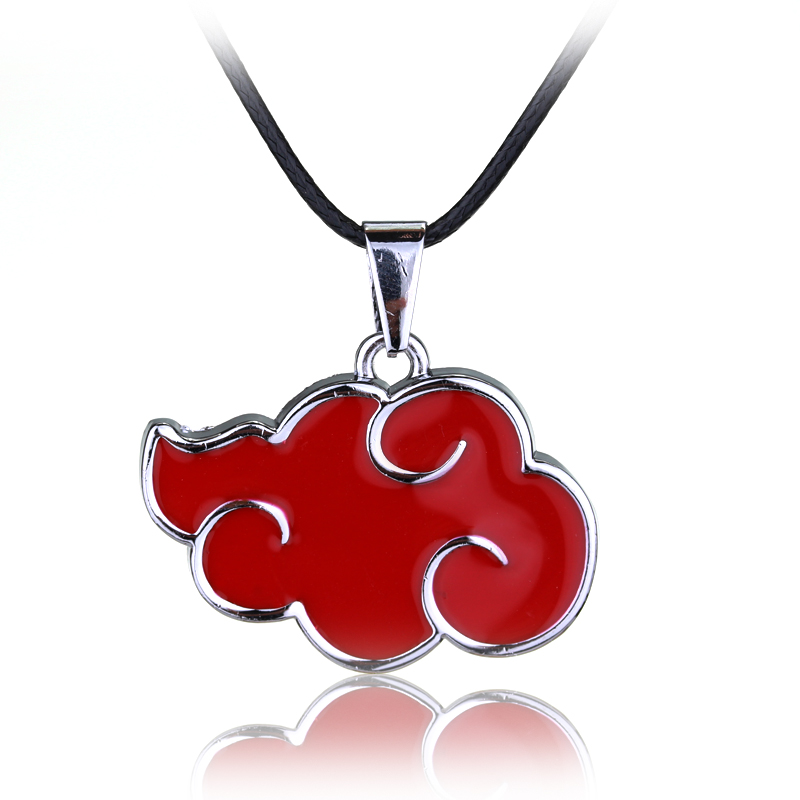 Japanese Anime Cosplay Naruto Akatsuki Organization Red Cloud Sign Metal Pendant Necklace Women Men Necklace