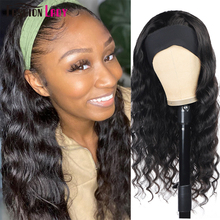 Headband Wig Human-Hair Deep-Wave-Wig Easy-To-Wear Black Women for Glueless Super Real-Look