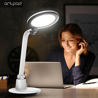 High Bright 1000LM 17W Desk Lamp Rotatable Acrylic Panel Led,5 Levels Brightness Touch Dimming Reading Study Desktop Light Plug