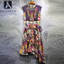 Dress Runway Fashion Flower-Print Lace Irregular Women Elegant Designer High-Quality