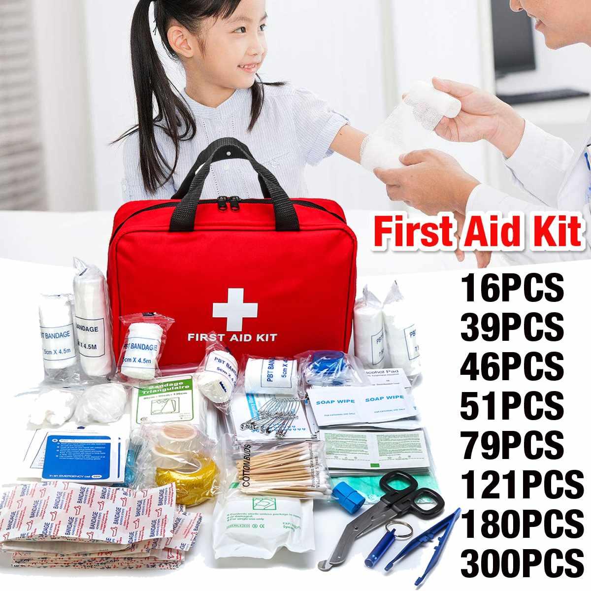 16 pces 300 pces kit de primeiros socorros portátil doméstico viagem de emergência acampamento ao ar livre saco de carro tratamento de primeiros socorros kit de sobrevivência|Kits de emergência|   -