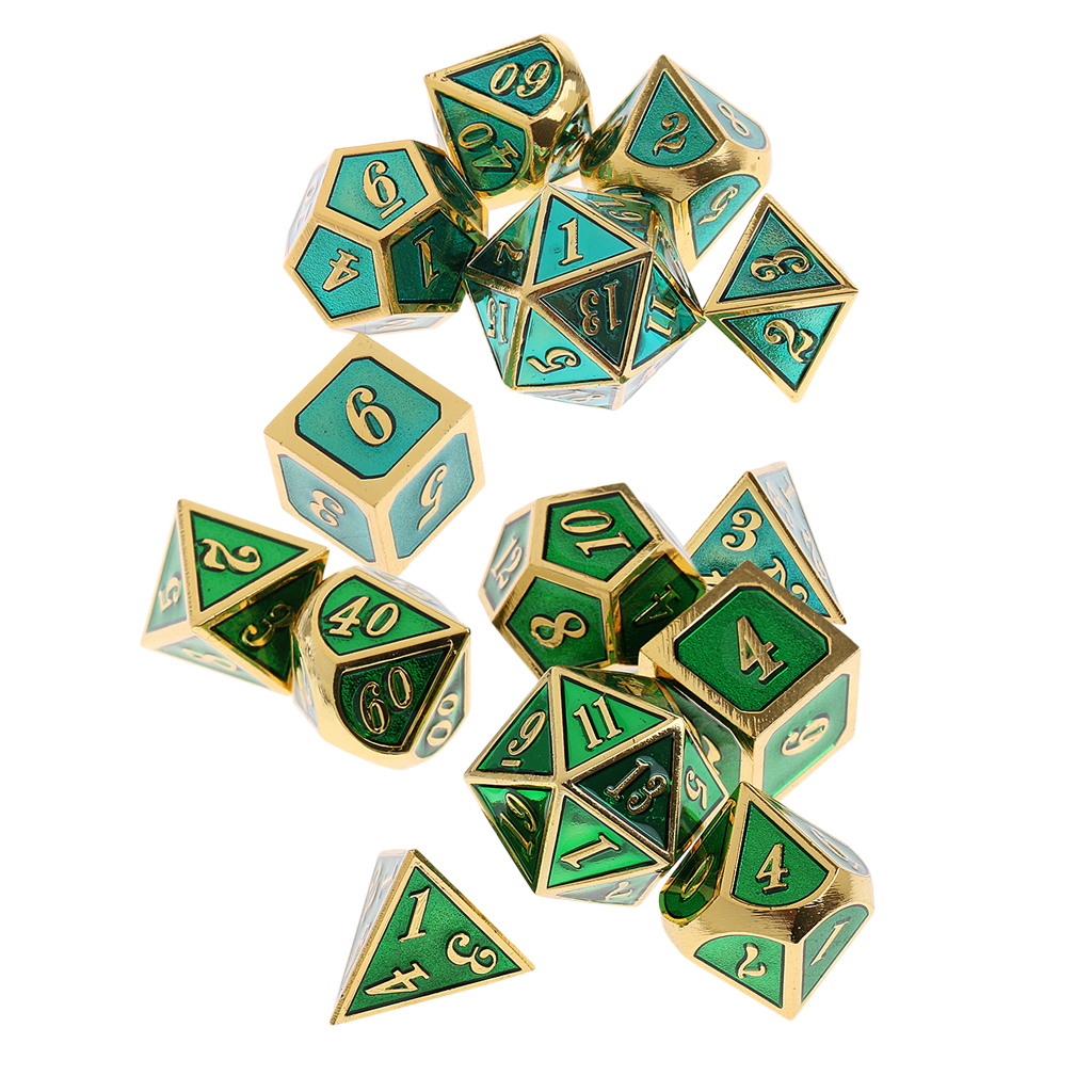14x Blue&Green Polyhedral Dices D4-D20 Table Game for Dungeons and Dragons