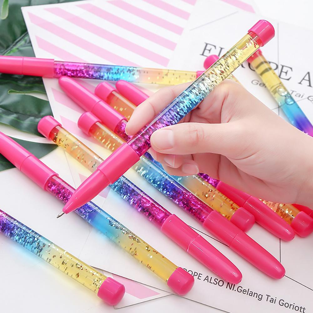 Glitter Sequins Handle 0.5mm Blue Ink Ball Pen Student School Office Stationery