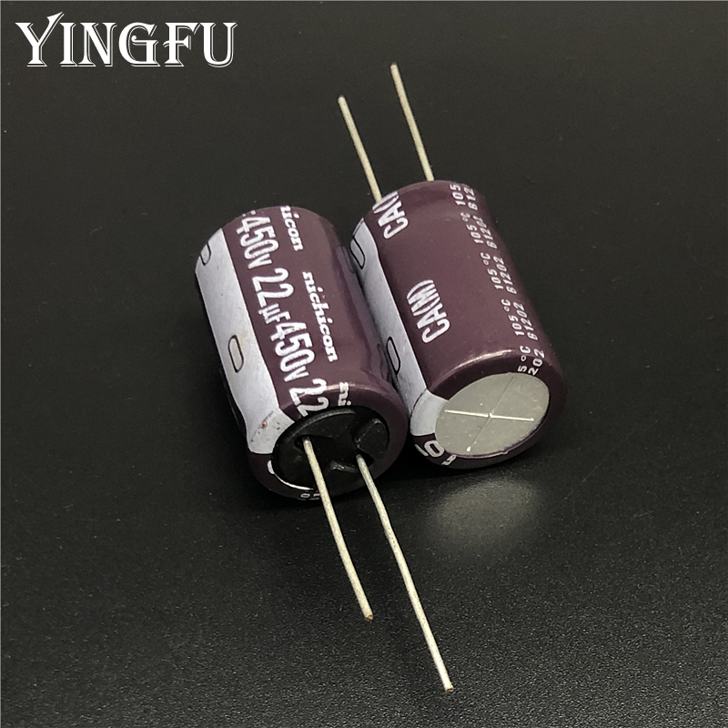 5pcs 22uF 450V Japan NICHICON CA Series 16x25mm High Ripple Current Long Life 450V22uF Aluminum Electrolytic Capacitor