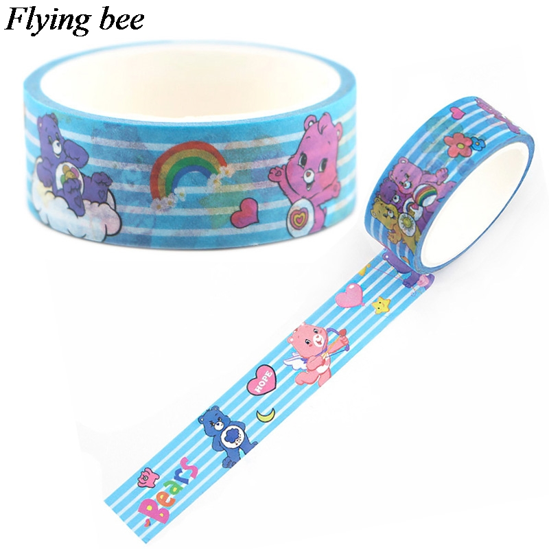 Flyingbee 15mmX5m Kids Cartoon Cute Washi Tape Adhesive Tape DIY Scrapbooking Sticker Label Masking Tape X0613