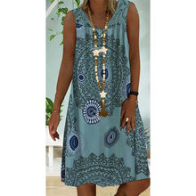 Lace Patchwork Printed Women's Dress V Neck Sleeveless Loose Plues Size Dresses Woman Female Summer Sexy Girl Casual Clothing