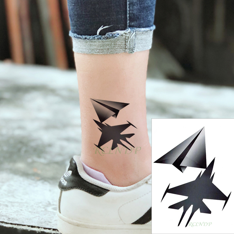 Waterproof Temporary Tattoo Sticker Paper Aircraft Black Fake Tatto Flash Tatoo Hand Leg Arm Back Tattoos For Kid Men Women