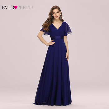 Plus Size Evening Dresses Ever Pretty V-neck Nay Blue Elegant A-line Chiffon Long Party Gowns 2020 Short Sleeve Occasion - discount item  49% OFF Special Occasion Dresses