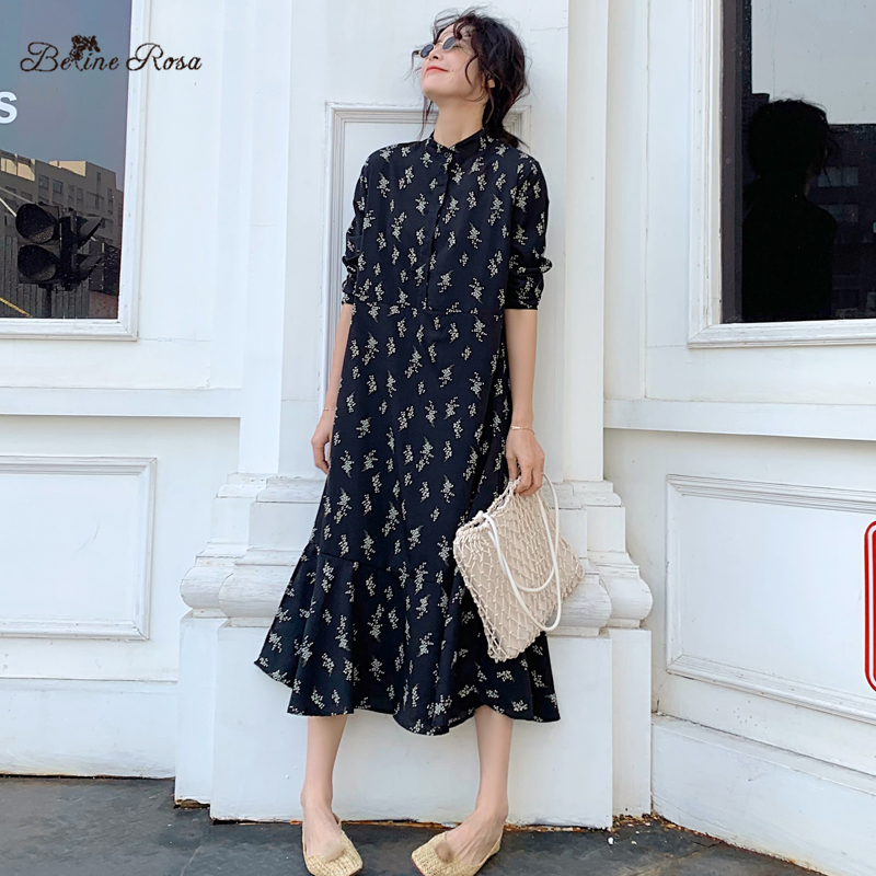 BelineRosa England Retro Style Floral Printed Chiffon Dress Female Loose Flower Ladies Autumn 2019 STYFS0002