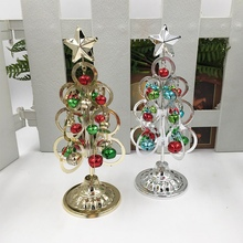 Merry Christmas Desktop Mini Tree Wrought Iron Miniatures Decoration For Home New Year Decor