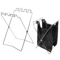 Aço inoxidável ao ar livre saco de lixo suporte de armazenamento de detritos rack dobrável portátil ferramentas suporte de saco de lixo|  -