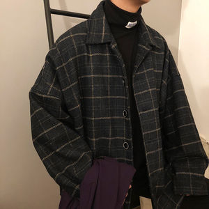 ins super fire plaid jacket male autumn and winter thick Korean loose trend student Hong Kong style chic retro jacket