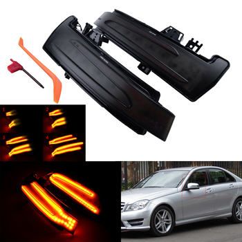 ANGRONG Dynamic LED Wing Mirror Indicator Turn Signal Light For Mercedes W204 W212 W221