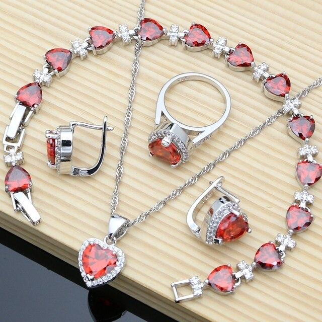 หัวใจเงิน 925 เครื่องประดับชุดเจ้าสาวสีแดงCubic Zirconiaลูกปัดตกแต่งสำหรับงานแต่งงานต่างหูชุดสร้อยคอหิน