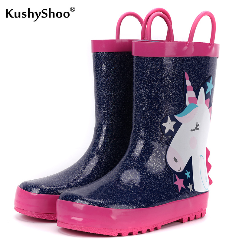 KushyShoo Children's Rain Boots 3D Star Unicorn Rain Boots Kids Water Boots Waterproof Toddler Girl Boots Rubber Designer Boots