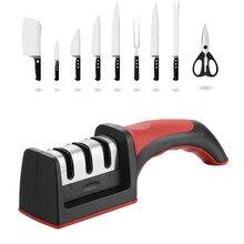Lmetjma afiador de facas de 3 estágios, com 1 mais substituição, manual, afiador de facas de cozinha, ferramenta para todos os facas kc0319