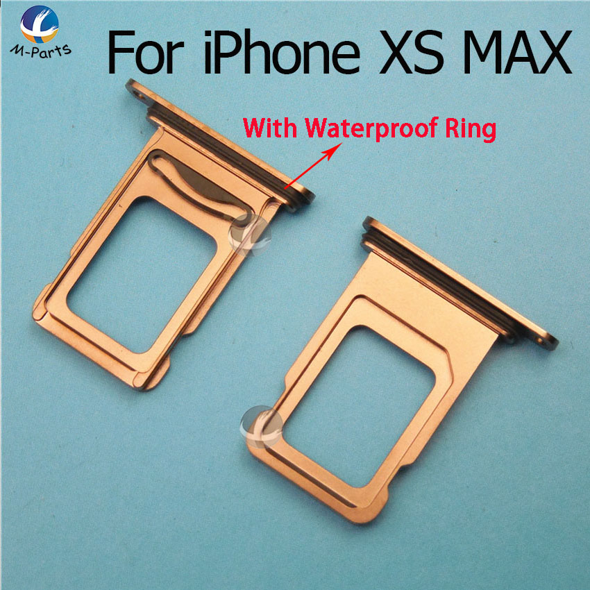 Original New Single / Dual SIM Card For IPhone XS XS MAX XSM XR Reader Connector Slot Tray Holder With Waterproof Ring