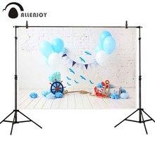 Allenjoy summer background navy blue balloon 1st birthday brick wood baby smash cake interior photo backdrop studio photozone