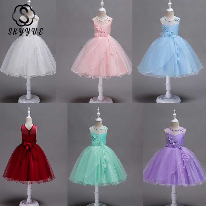 Skyyue Kids Flower Girl Dress For Wedding  Kid Party Communion Dress  Applique Embroidery Tulle Ball Gown White Pink 2019 700