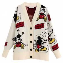 Disney Stylish Mickey Mouse Cartoon Print V-Neck Cardigan Si