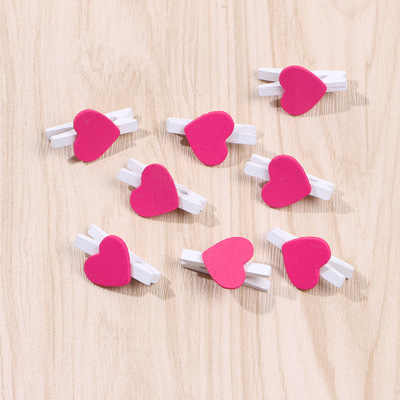 Pack of 10 30mm White Clothes Peg with 17mm Orange Wooden Heart Craft For Shabby Chic Vintage Wedding