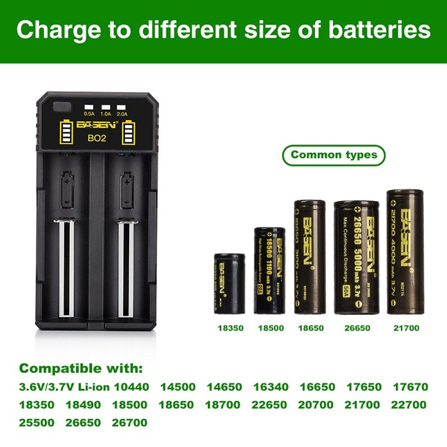 BASEN ładowarka akumulatorów litowych do 18650 26650 21700 10440 14500 16340 AA AAA nikiel NiMH inteligentna ładowarka do akumulatora