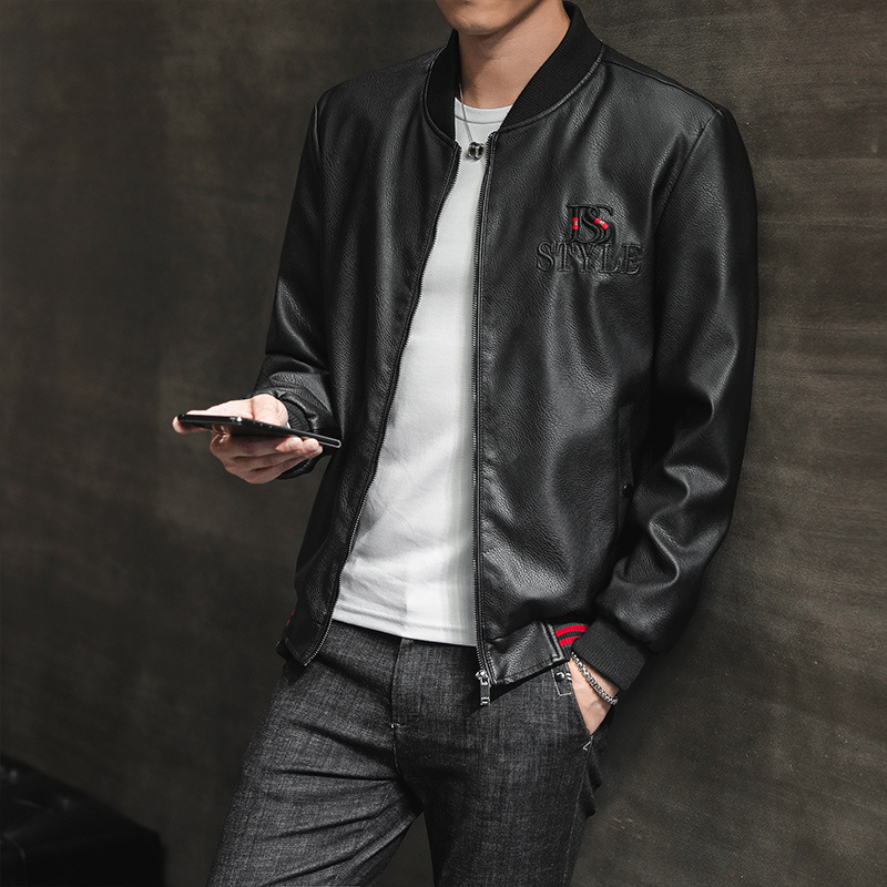 Autumn & Winter New Style Leather Coat Men Slim Fit PU Leather Jacket Men's Korean-style Baseball Uniform Collar Thin Youth Moto