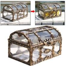Pirate design treasure chest boxes metal lock perfume makeup