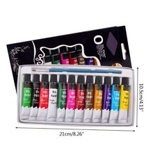 12 Colors Oil Painting Paint Drawing Pigment 12ml Tubes with Brush Art Supplies G8TA