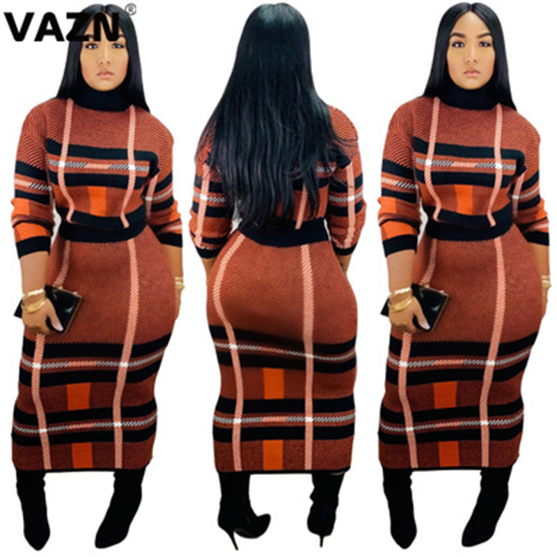 VAZN SY8399 New 2019 High Quality Sexy Women Sweater Color 2-Piece Sets Sexy Lady O-Neck Full Sleeve See Plaid Long Skirt