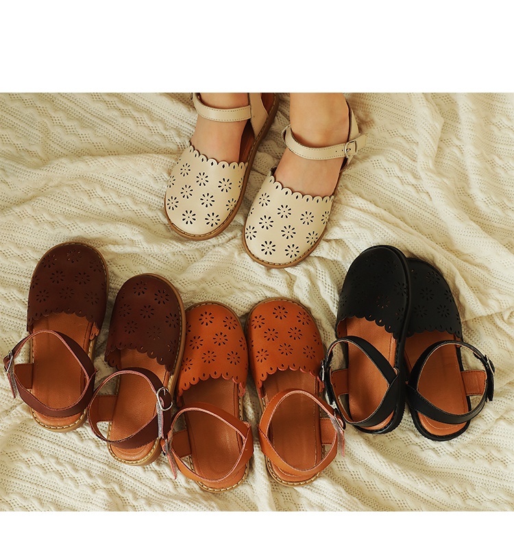 3742 Girl's Round Head Sandals Fashion Children's Small Leather Shoes New Summer Hollow Floral Breathable Baby Girls Shoes