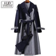 England Style Classic Long Trench Coat Women Fashion Lattice