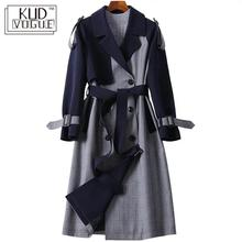 England Style Classic Long Trench Coat Women Fashion Lattice Classic Double Brea