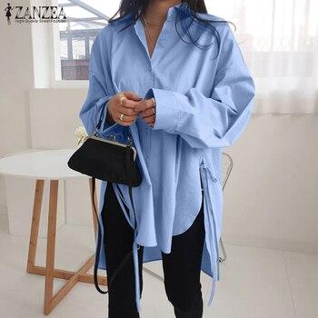 Stylish Solid Shirts Women's Asymmetrical Blouse 2021 ZANZEA Casual Lace Up Blusas Female Button Lapel Shirt Oversized Tunic