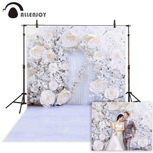 Allenjoy Photography Backdrop White Wedding Flower Wall Wood Door Spring Background For Shooting Photo Studio Photophone Props