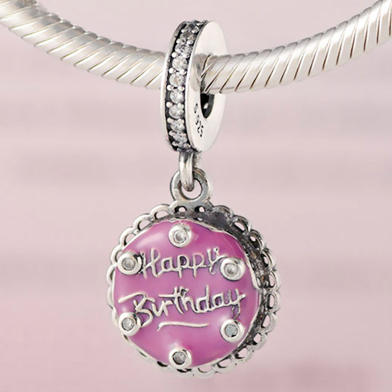 Original Pink Birthday Cake With Happy Birthday Pendant Beads Fit 925 Sterling Silver Bead Charm Pandora Bracelet Diy Jewelry(China)