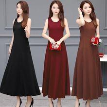 T-Shirt Dress Maxi Bodycon Summer Long Vestidos HALTER-TANK Women Sleeveless Female Mujer