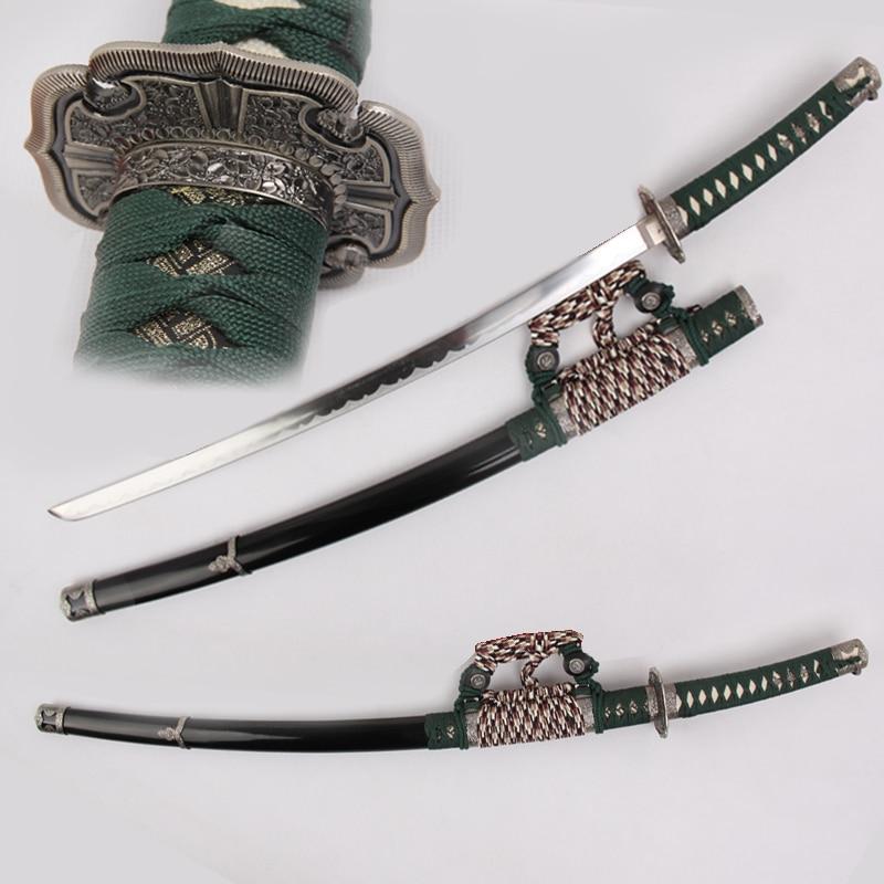Real Japanese Sword Katana Cosplay Carbon Steel Blade Samurai Swords Weapon Metal Decotative Props No Sharp Zinc Guard