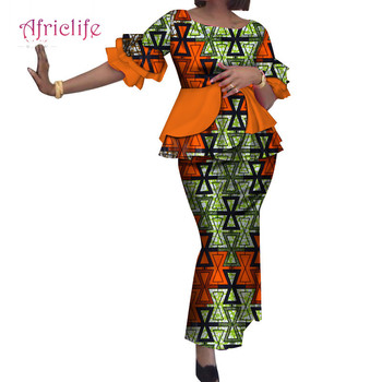 WY2271 Lady 2 Pieces Mermaid Skirt Sets Bazin Riche African Print Ruffles Half Sleeve Top and Skirts for Women African Clothing